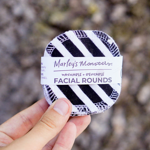 20 FACIAL ROUNDS: Medium Black & White Stripe