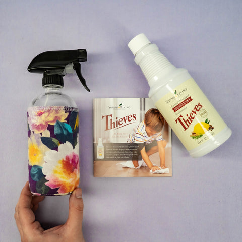 GLASS SPRAY BOTTLE & THIEVES HOUSEHOLD CLEANER