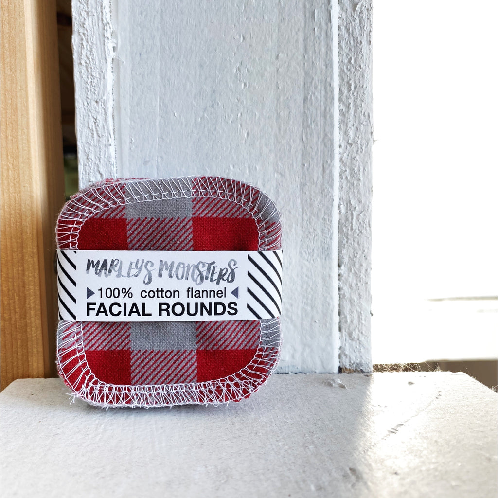 20 FACIAL ROUNDS: Red and Grey Buffalo Plaid
