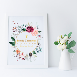 Floral Personalised Christening Print - PRINTS279