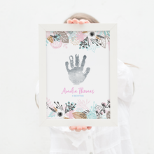 Load image into Gallery viewer, Personalised Foil Handprint Pink Floral