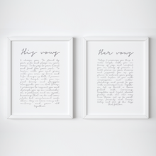 Load image into Gallery viewer, Personalised His & Hers Wedding Vows - PRINTS279
