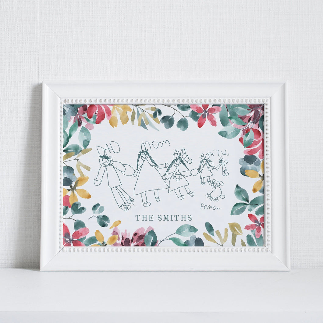 Personalised Children's Drawing Artwork Floral
