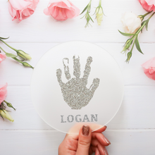 Load image into Gallery viewer, Personalised Handprint / Footprint - Glitter Acrylic Disc Keepsake