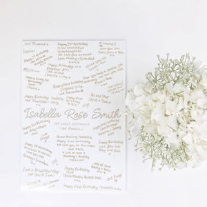 Pre-order only. Personalised Keepsake Modern Guest Book Board - PRINTS279