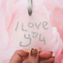 Load image into Gallery viewer, Personalised Handwriting - Glitter Acrylic Decoration Keepsake