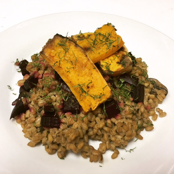 Roasted Butternut Squash with Mushroom Farrotto