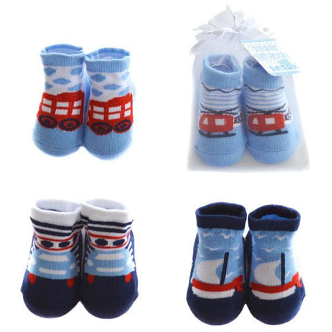 Baby Boy Vehicle Design Socks in Organza Gift Bag