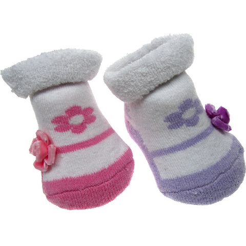 Baby Girl Flower Design Socks in Organza Gift Bag