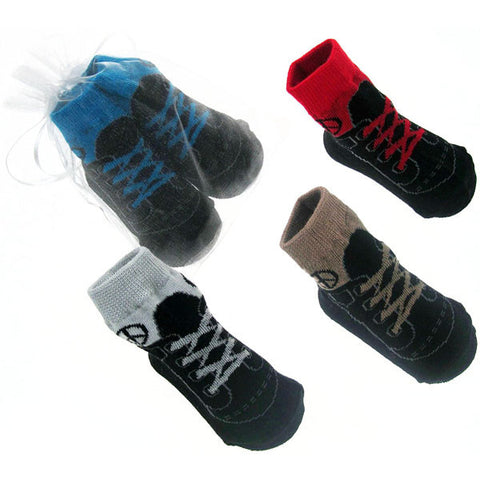 Baby Boy Sneaker-style Socks in Organza Gift Bag