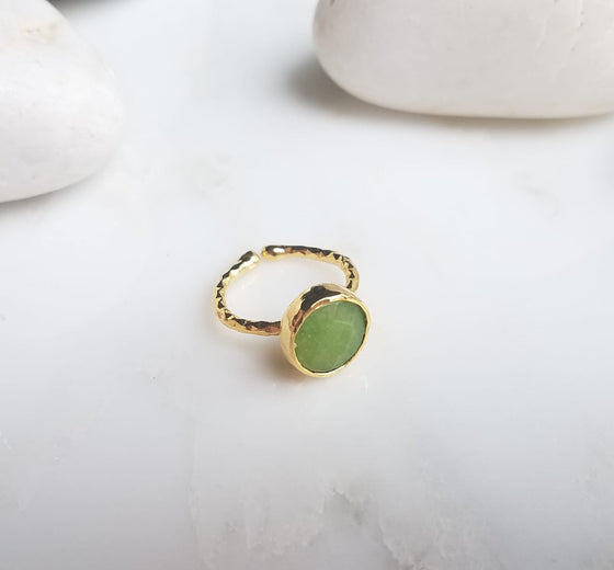 Olive Green Jade one stone ring