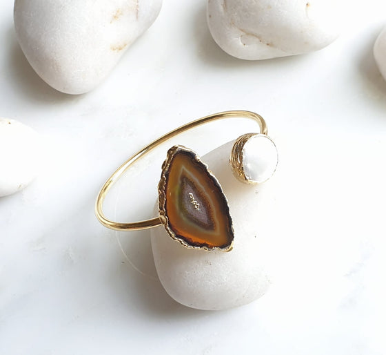 Brown Agate and Pearl bangle
