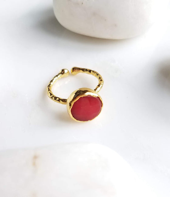 Red Jade one stone ring