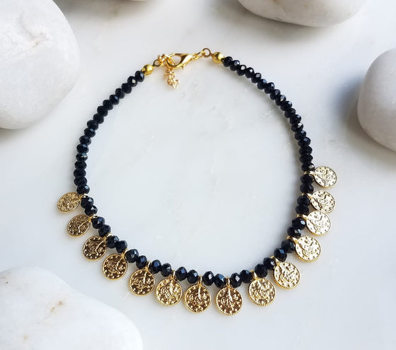 Black multi coin anklet