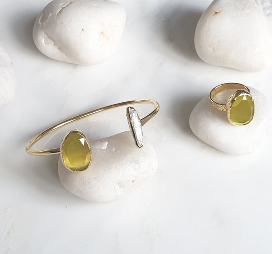 Yellow Cat's Eye and Pearl stone  Set