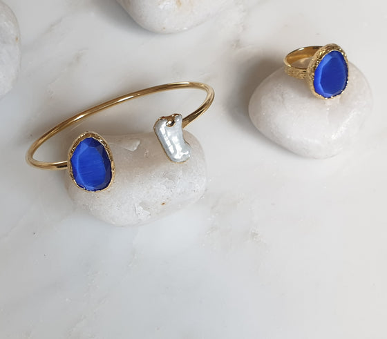 Royal Blue Cat's Eye and Pearl stone  Set
