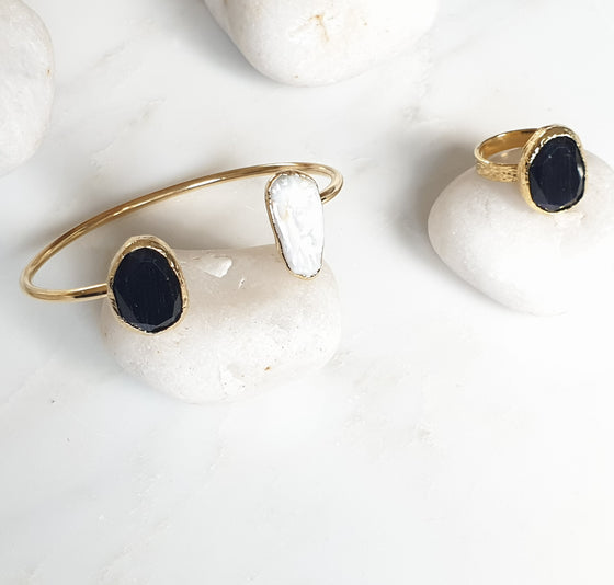 Navy Cat's Eye and Pearl stone  Set