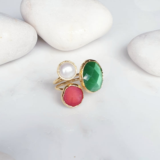 Three Stone Coral Ring