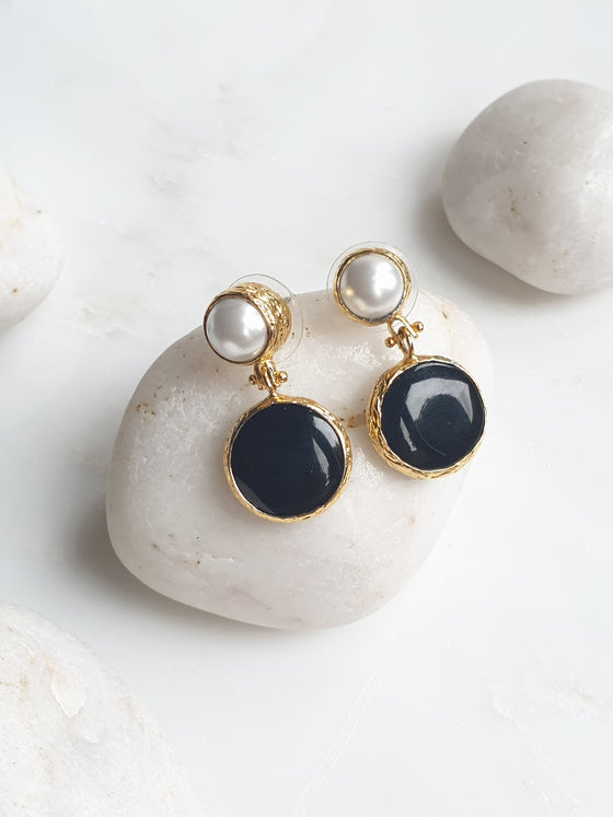 Hanifeh Black Onyx and Pearl Earrings