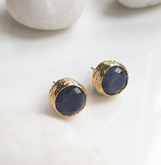Navy Cat's eye  Studs