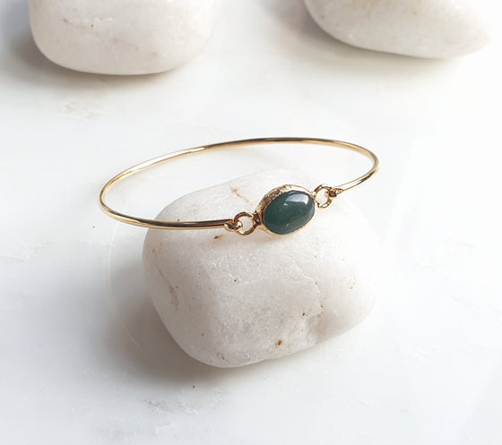 Small Green Agate bangle