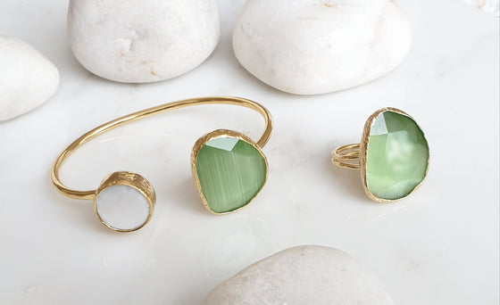 Light Green Cat's eye and Pearl bangle and ring set