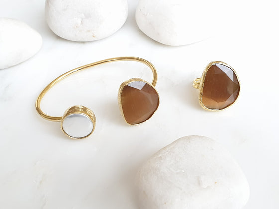 Camel Cat's eye and Pearl bangle and ring set