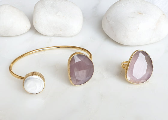 Darker Pastel Pink Cat's eye and Pearl bangle and ring set