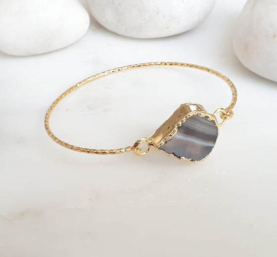 Black and White Agate bangle
