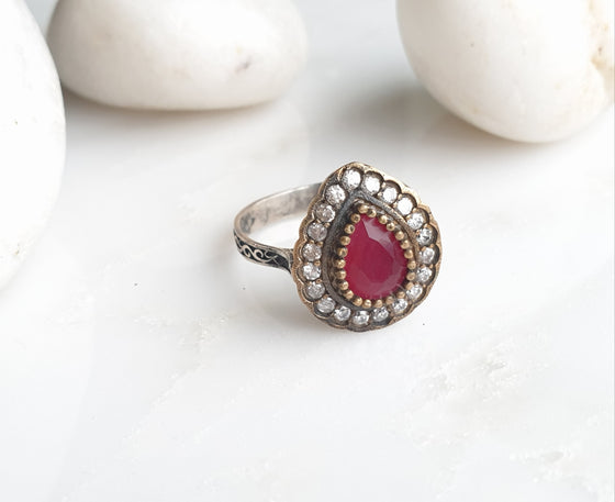 Hafizeh Red 925 Silver Ring