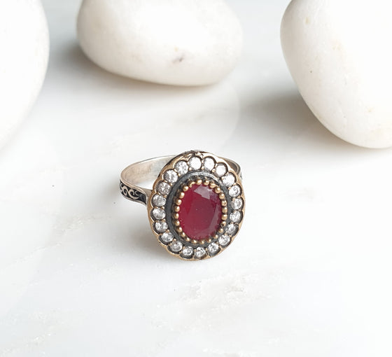 Safiyeh  Red 925 Silver Ring