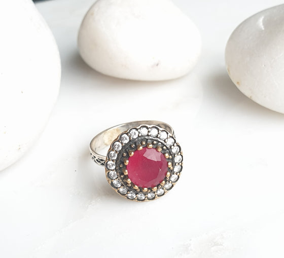 Sultanzadeh Red 925 Silver Ring