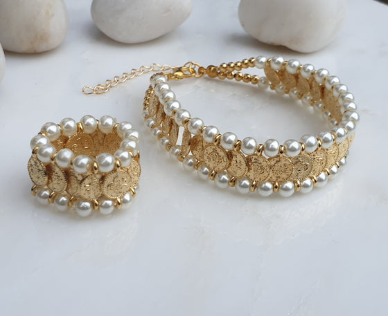 Pearl Coin Bracelet and Elasticated Ring