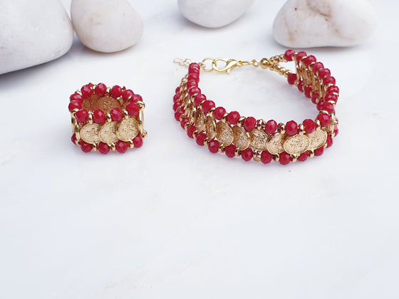 Red Coin Bracelet and Elasticated Ring