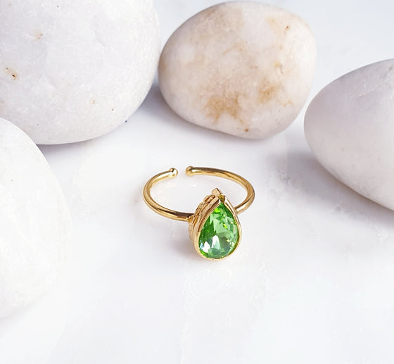 Stackable Teardrop Light Green Ring