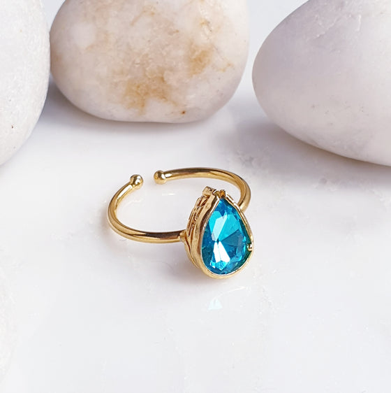 Stackable Teardrop  Blue  Ring