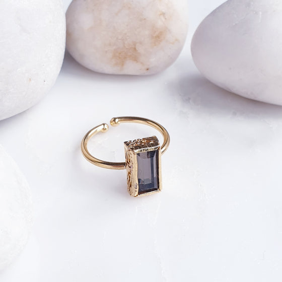 Stackable Rectangle Brown  Ring