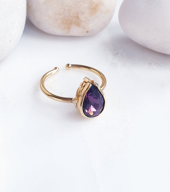Teardrop Stackable Purple Ring
