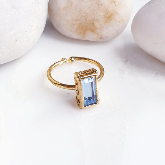 Stackable Rectangle Light Blue Ring