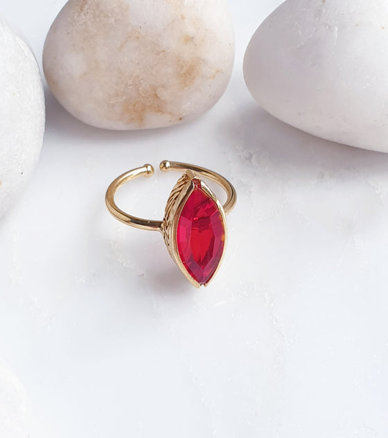 Stackable Pointy Oval Red Ring