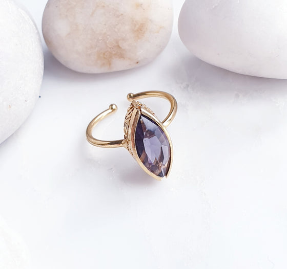 Stackable Pointy Oval Purple Ring
