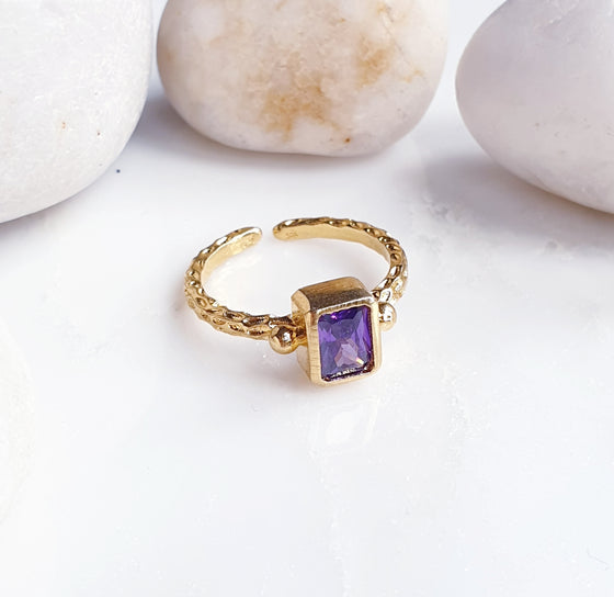 Copy of Stackable Thick Band Rectangle Amethyst  Ring