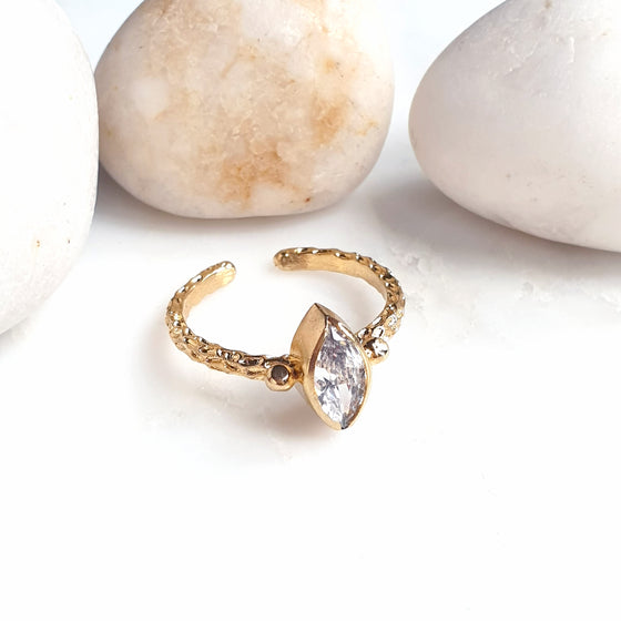 Stackable Thick Band  White Crystal Ring