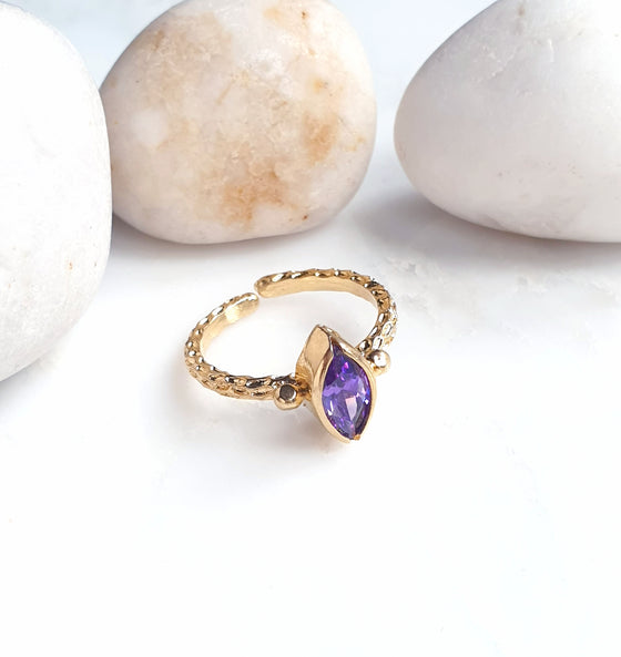 Stackable Thick Band Amethyst Ring