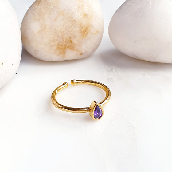Stackable Small Teardrop Amethyst Ring