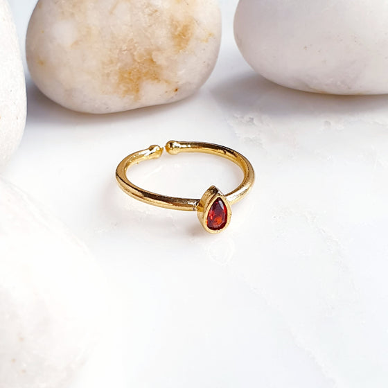 Stackable Small Teardrop Red Ring