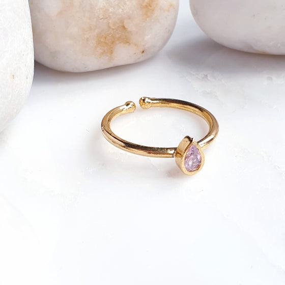 Stackable Small Teardrop Pink Ring