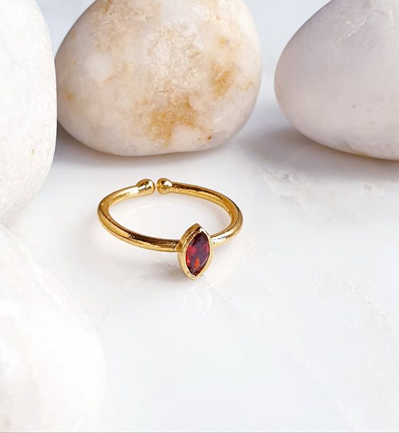 Stackable Small Pointy Oval Red Ring
