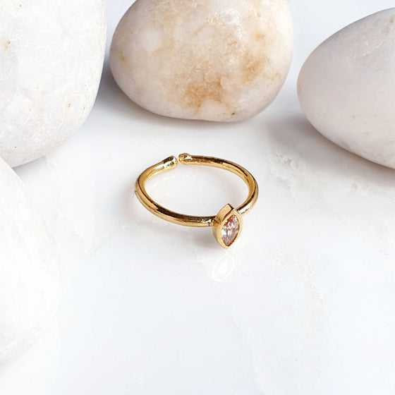 Stackable Small Pointy Oval  Peach Ring
