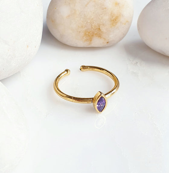 Stackable Small Amethyst Lens Ring
